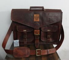 "18"" Large Leather MESSENGER bag for men shoulder bag mens Laptop BRIEFCASE bag"