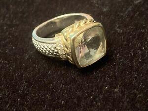 Judith Ripka (not QVC line) SS + 18Kt green amethyst ring, sz 9
