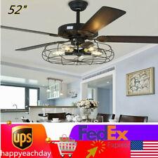 """New 52"""" Modern Fan Light Chandelier 3 Speed 5 Led Ceiling Edison Bulb Fan Light"""