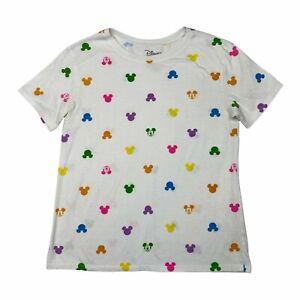 Disney Mickey Mouse Head Allover Print Short Sleeve T-Shirt White Womens Medium