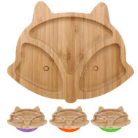 Baby Toddler Animal Cub Suction Plate Natural Bamboo Stay Cute Kid Feedin