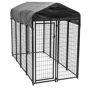 Lucky Dog 8' x 4' x 6' Uptown Welded Wire Outdoor Dog Kennel w/ Waterproof Cover