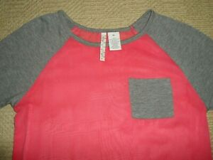 Girls Shirt Blouse Pink Grey Size XL Long Sleeve Kids By Heart -n- Crush Spandex