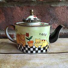 Kelvin Chen 1999 Signed Miniature Enamel Painted Teapot No. 350 Cat Trinket Box