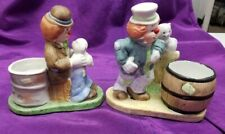 Set of 2 cute Hobo Clown figurines with candles 1983
