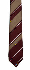 Men's New Neck Tie, Short, Skinny, Brown stripe with pink blue yellow dots