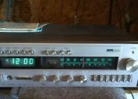 FM/AM  Stereo Receiver 8 Track Tape Player Alarm Clock  Montgomery Ward Airline