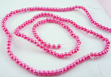 180pcs Pearl Beads 4mm Deep Pink Color Imitation Acrylic Round Loose Pearl