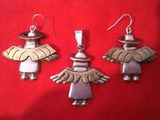 And Earrings Set 925 Td-8 Taxco Mexico Sterling Angel Pendent