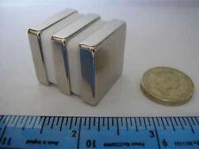 "2 of (1"" x 1"" x 1/4"") Block Magnets Very Strong NdFeB Neodymium Rare Earth 25mm"
