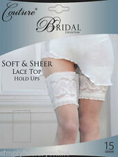 Couture Bridal Hold UPS Soft Sheer Lace Top Reinforced Toe Ivory 15 Denier Medium