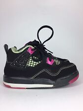 Jordan Retro 4 Size 7C in Black, Pink, Fluorescent Green