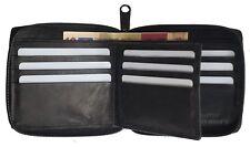 Mens Zip-Around Wallet Bifold Slim Credit Card Holder Secure Organizer