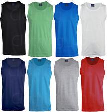 Mens Sleeveless Vest Cotton Gym Shirt Basic Training Running Big Size M - 5XL