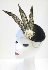 L'or noir ivoire plumes faisan à headpiece vintage courses hat 20s U49