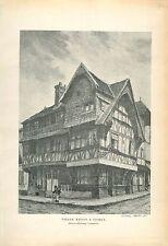 Maison à Colombage à Lisieux Calvados Normandie GRAVURE ANTIQUE OLD PRINT 1913