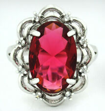 RUBY 9.20 Cts & WHITE SAPPHIRE RING SILVER PLATED ** Size 5.75 ** NWT