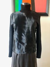 Black haircalf and wool knit turtle neck sweater Italy sz Small