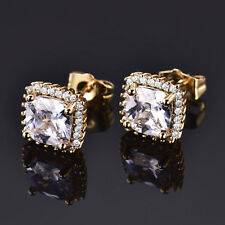 Princess Crystal Sapphire 24K Gold Filled Women Wedding Engagement Stud Earrings