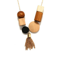 Gold Chain Round Wood Disc Geometric Shape Minimalist Cos Style Necklace