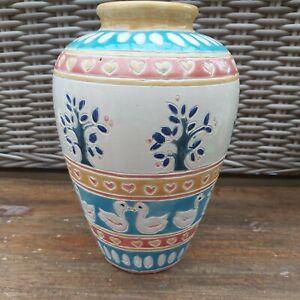 Ceramic Blue Yellow Cream 21cm Duck pattern Vase