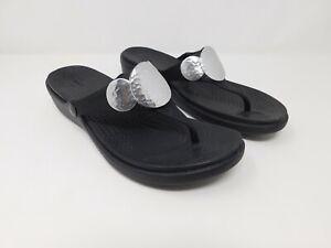 Crocs Sanrah Embellished Flip Wedge Sandals Women's Size 9 Black Silver