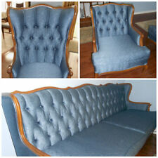 Louis XV Livingroom Set - Wing Chair, Club Chair and Couch Blue Damask