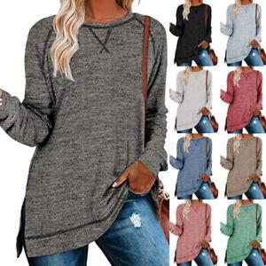 Women Long Sleeve Sweatshirt Plain Casual Loose Pullover Blouse Jumper Top Sizes