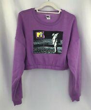 MTV Women's Half Shirt w/ Elastic Waist Great MTV Graphic on Front Purple Large