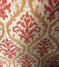 DRAPERY FABRIC RED AND GOLD FAUX SILK BY THE YARD