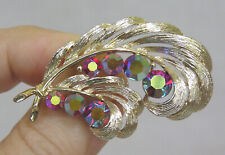 Vtg Jewelry Lisner Signed Brooch Red Aurora Rhinestones Goldtone Feathers