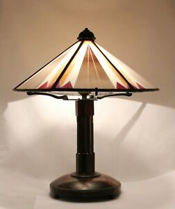 Art Deco, Amsterdam School Table Lamp, wooden stand & stained leaded glass shade