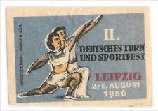 Old Vintage Matchbox Label 1956 Leipzig Germany Tour and Sports Festival Couple