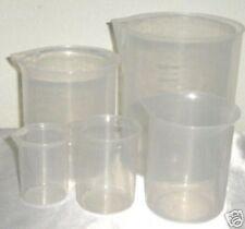 Set Of 5 Plastic Beaker Graduated Measuring Cup 501002505001000 Ml New