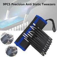 9x Anti Static Tweezers Precision Hand Tool Kit Bag Repair Electronic Cell Phone