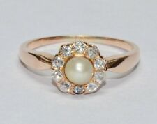 Antique 14K Diamond & Pearl Victorian Ring Old Euro Cut 1/3ct Yellow Gold Halo
