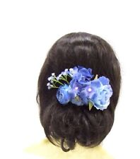 Light Blue Hydrangea Rose Flower Hair Comb Bridesmaid Clip Floral Bridal 3080