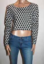 factorie Designer Black Grey Pyramid Geo Print Crop Top Size L BNWT #TE76