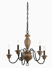 Kichler Beulah 5-Light Olde Bronze and Wood Tone French Cottage Chandelier
