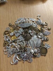 100 Silver bronze gold Charms Job lot Pendant craft jewellery variety mixed l001