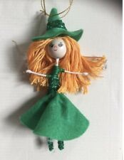 Handmade Witch Hanging Fairy Doll Decoration. Green