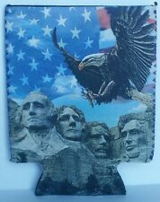 NEW USA Memorial Day red white and blue Mount Rushmore koozie beer drink holder