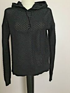 STITCHES & STRIPES Black Pullover Hooded Sweater  Sz S