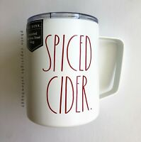 Rae Dunn Spiced Cider Stainless Steel Mug Ivory with Red letters New