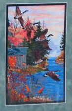 Counted Cross Stitch Kit Needlepoint Autumn Sunset Geese in Flight Fall Water