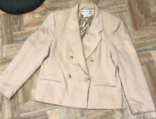 Jaeger Size 16 Vintage Cream Camel Cashmere Wool Coat Jacket Double Breasted