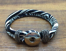 DIY Handmade Leather Bracelets Drill Fit For Noosa Snaps Chunk Charm Button XY11