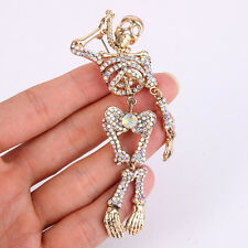 Skull Skeleton Bone Hang Brooch Pin Clear AB Austrian Crystal Vintage Style
