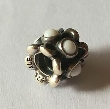 Authentic Pandora FORGET-ME-NOT White Agate Charm 790470AGW +Free gift
