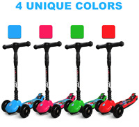 Kids Mini Scooter for Boys & Girls Kick Light Up 3 Wheel Adjustable Folding Bar